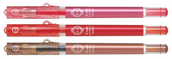 В подарок три гелевых ручки PILOT G-Tec-C maica (коричневая, красная и светло-розовая) 0,4 мм