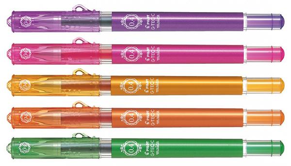 В подарок пять гелевых ручек PILOT G-Tec-C maica (зеленая, розовая, фиолетовая, оранжевая и абрикосовая) 0,4 мм